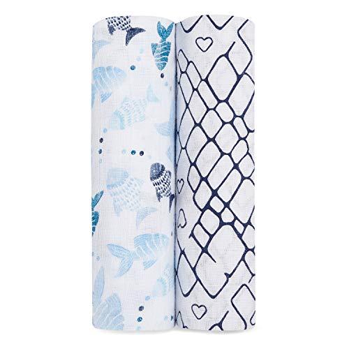 aden + anais Mantas de Muselina 100% algodón para bebés y niños, 120 x 120 cm, Ideal para recién Nacidos y bebés, Ducha, 2 Unidades, Pesca Fuera