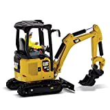 Diecast Masters CAT Caterpillar 301.7 CR Next Generation Mini Hydraulic Excavator with Work Tools and Operator High Line Series 1/50 Model 85597