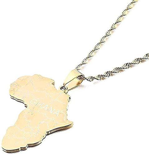 ZGYFJCH Co.,ltd Collar Collar de Acero Inoxidable con Mapa de África con Collares Pendientes mapas africanos Joyas con dijes
