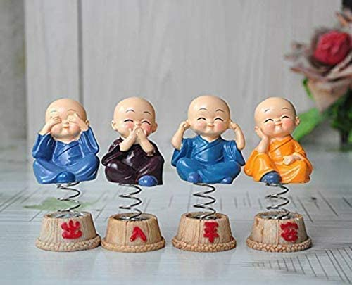 Meventos 4 Pcs Little Cute Monk Statue for Car/Bobblehead Monk Spring Set for Car Dashboard or Interior Decoration, S...