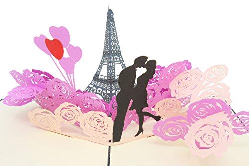 PopLife Cards Torre Eiffel romántica, París pop-up tarjeta de San Valentín - todas las ocasiones