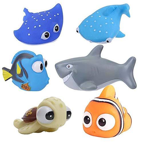 Toytops Baby Badespielzeug, Finden Dory Nemo Spritzen Spielzeug Bath Squirters Badespielzeug für Baby- und Kleinkindspielzeug Duschen und Schwimmen (6 Stück)