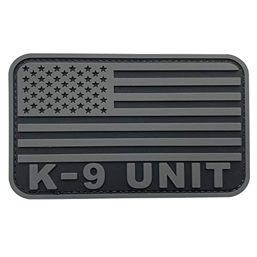 uuKen K-9 Unit Patch Service Dog Tactical PVC 3x5 inches Subdued Gray US Military Army Flag Patch for Tactical Vest Jackets (Gray, L5'x3')