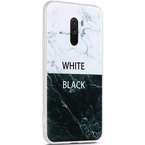Surakey Marmor Hülle für Xiaomi Pocophone F1 Hülle,Transparent TPU Silikon Handyhülle Schutzhülle für Xiaomi Pocophone F1,Weiß Marmor Muster Ultra Dünn Silikon TPU Bumper Rückschale Case Cover, 4