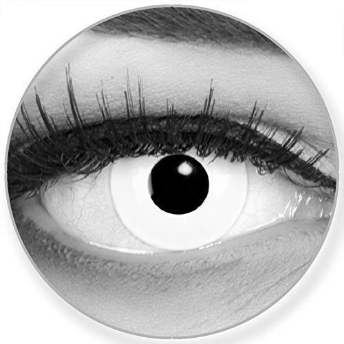 Funnylens Farbige Kontaktlinsen White Out weiß Vampir + Behälter gratis, weich, ohne Stärke als 2er Pack - 12 Monatslinsen perfekt zu Halloween, Karneval, Fasching oder Fasnacht