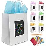 7 weiße Geschenktüten aus Papier mit Seidenpapier Purple Ladybug Novelty | Papiertragetaschen 19x24x12 cm individuell zu gestalten | Robuste Geschenkverpackung, Papiertaschen für...