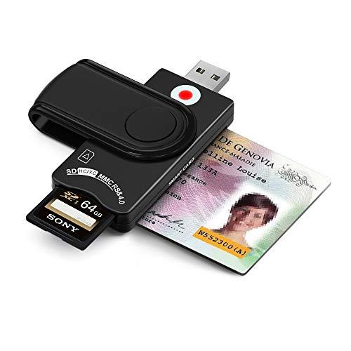 Multi-Kartenleser, CAC/DOD Military USB-Kartenleser, SD- und Micro-SD-Kartenleser für SIM und MMC RS & 4.0 Kompatibel mit Windows, Linux/Unix, MacOS X