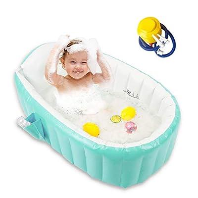Baby Inflatable Bathtub, Portable Bathtub Infant Toddler Non Slip Bathing Tub Travel Bathtub Mini Air Swimming Pool Kids Thick Foldable Shower Basin Bath seat (Green)