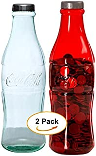 2 Pack Bundle Coca-Cola Coke Bottle Bank for Saving and Storing Coins - Bundle Includes: 1 Clear and 1 Red 12 Inch Coin Bank