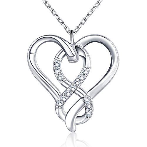 BlingGem Collier pour Femme en Argent 925/1000 avec Oxyde de Zirconium Rond Infini Cœur Amour Pendentif Chaine Réglable 45 cm