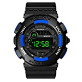Wenini Luxury Mens Digital LED Watch Date Sport Men Outdoor Electronic Watch, Waterproof, LED Luminous,Alarm Clock, Stopwatch Timing (Blue)