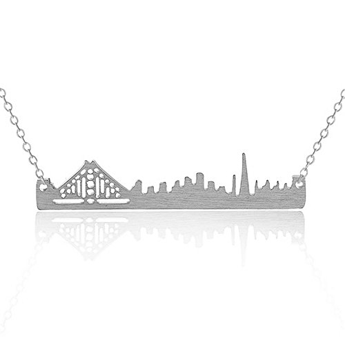 Art Attack Silvertone Golden Gate San Francisco California Cityscape Outline Pendant Necklace