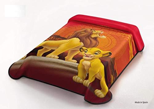 Manta Terciopelo Disney Modelo: EL Rey LEÓN (The Lion King), Color: ÚNICO, Medida: 160x220 (Ideal para Cama de 90cm.)
