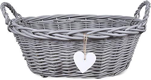 TUW Eared Grey Painted Matte Wicker Hamper Bread Decoration Basket