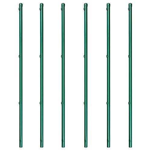 6 x Zaunpfosten Zaunpfahl für Maschendrahtzaun zinkphosphatiert grün kunstoffbeschichtet, 34x1500mm