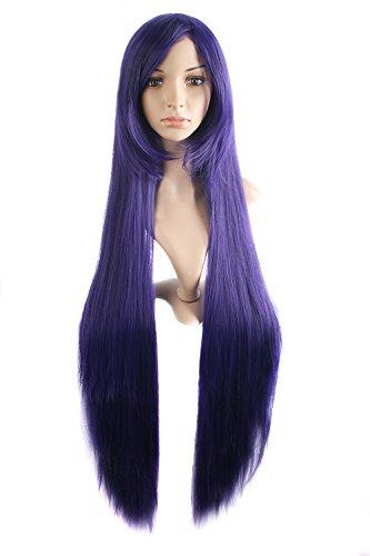 MapofBeauty 39 Pouce/100cm Perruque De Costume De Mode Longue Ligne Droite Perruque De Mode (Sombre Violet)
