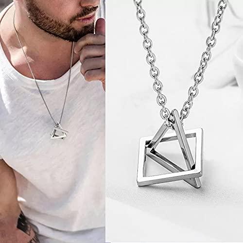 Los hombres usan collares pendientes Colgante de triángulo cuadrado Interloc hombre Collar geométrico de acero inoxidable Streetwear Hip Pop Rock Regalo esposo padre novio. regalo de cumpleaños