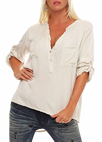 Malito Damen Bluse mit Knopfleiste   Tunika mit ¾ Armen   Blusenshirt auch Langarm tragbar   Elegant - Shirt 9015 (beige)