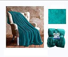 Comercial Candela Manta Polar de Franela 100% Microfibra Extra Suave | Manta Polar de Felpa Color (Celeste, 130_x_160_cm)