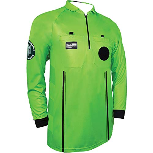 Official Sports New USSF Pro Men's Soccer Referee Green Long Sleeve Shirt Size Large