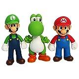 PQWE 3St 12Cm Super Mario Tecknad Actionfigur Modell Docka, Bros Luigi Yoshi Leksaker, Prydnadsföremål För Barnfödelsedagskollektioner