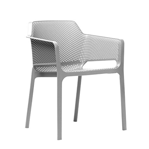 NARDI NET silla apilable, polipropileno, material reciclado, color blanco 58,50 x 60,5 x 80cm
