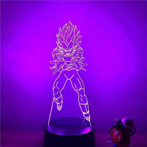 3D Illusion Lamp Led Night Light Dragon Ball Z Vegeta Wave Bomb Ver. Super Saiyan Optical Action Figure 7 Decorative Colors Gifts for Children