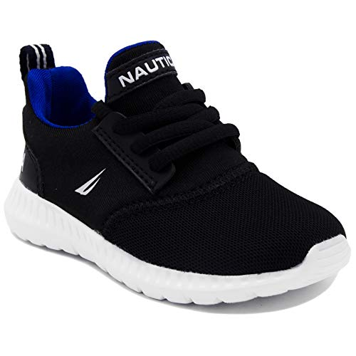 Nautica Kids Boys Lace-Up Fashion Sneaker Breathable Athletic Running Shoe-Pacifity Toddler-Black-6