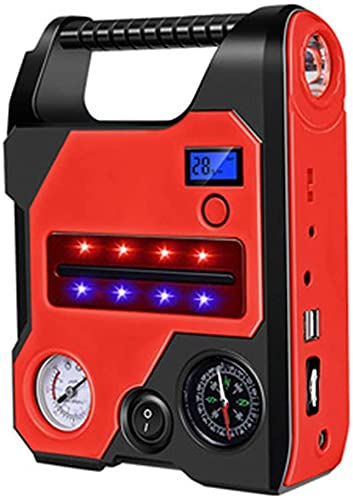 Arrancador de Coches, Bomba de alimentación de Arranque de Emergencia de Coches, 22000mAh 600A Peak Car Starter Car Booster 12V Portátil Pabellón Starter Starter Starter, Rojo, a, WQQWQQ-8521