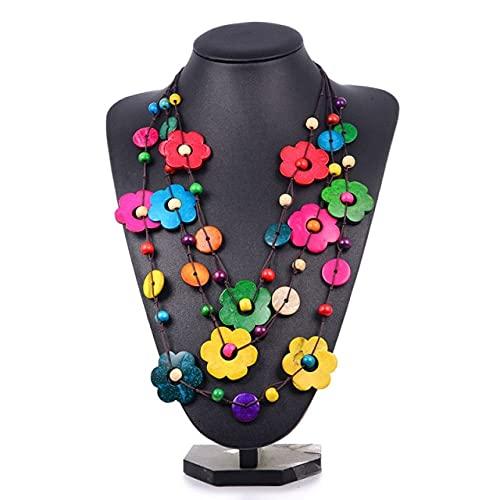 WSKL, Gargantilla Multicapa con Flores, Maxi Collar para Mujer, Colgante, Collar Llamativo, Cadena de Cuerda, bisutería, Cuentas de Madera, Borla