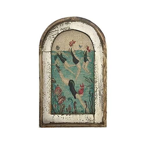 ZOUD - Decorazione da parete per il bagno, in legno, con piano di legno, per la stampa di finestre finte