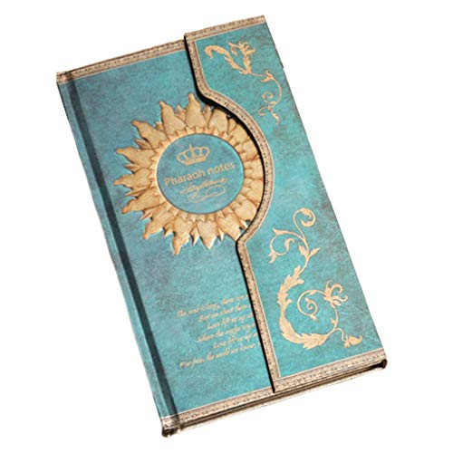 QIFFIY Cuaderno Revista Europea Retro Magic Note Hebilla magnética Papelería Diario Libro Cuaderno de Regalo del Estudiante Notebook (Color : Blue)