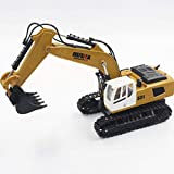 HuiNa Alloy RC Excavator Tractor Toy Construction Vehicles 9 Channel Truck Deluxe Package with Metal Shovel with 2.4Ghz Transmitter and Alloy Shovel (1331)