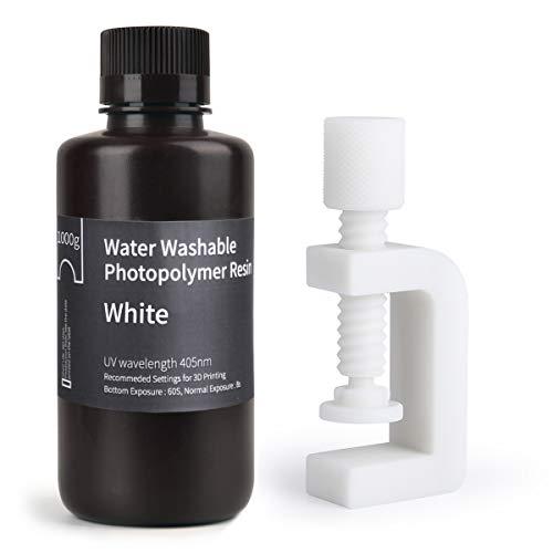 ELEGOO mit Wasser Waschbares 3D Drucker Resin LCD UV-Härtung Resin 405nm Standard Photopolymer Harz für LCD 3D Druck Weiß 1000g