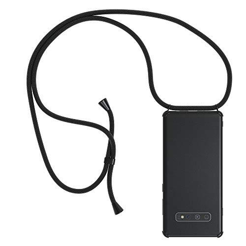 EAZY CASE Handykette kompatibel mit Samsung Galaxy S10 Plus Handyhülle mit Umhängeband, Handykordel mit Schutzhülle, Silikonhülle, Hülle mit Band, Stylische Kette für Smartphone, Full Color Schwarz