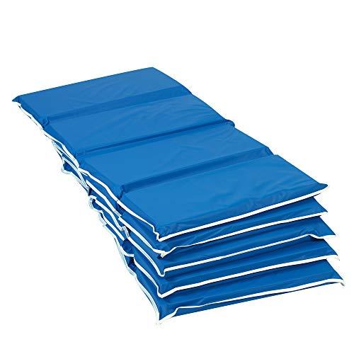 Kids Factory - Esterillas plegables resistentes para niños y bebés, 4 pliegues para dormir, alfombrilla de espuma portátil, 5 unidades