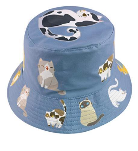 Sombrero para El Sol Al Aire Libre para Viajes De Moda,Gorra De Pescador De Doble Cara con Estampado De Gatos Y Animales,Gorro Plegable para El Ocio De Todo Fósforo para Mujer-B