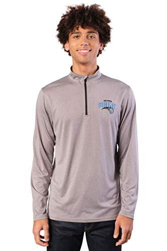 Ultra Game Men's NBA Quarter Zip Pullover Long Sleeve Tee, Orlando Magic, Heather Gray, Large
