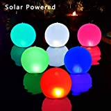 Esuper Solar Floating Pool Lights, 20 inch Inflatable Hangable Wateproof Color Changing Led Night Lamp, Kids DIY Drawing/Stickers Make Unique Decorations for Pool Garden Backyard - 2 Pcs