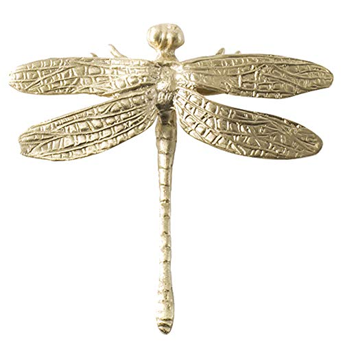 PLAFUETO Brass Dragonfly Wardrobe Cabinet Knob Drawer Pull Decorative Cabinet Hardware Pull Handle with Screw, 1Pcs