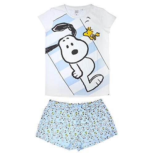 Cerdá Pijama Mujer Corto Snoopy de Color Blanco Juego, M Unisex Adulto