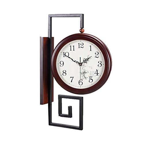 LCYCN Reloj de Pared de Doble Cara de Estilo Chino, Linterna muda de Modelado de Hierro + Reloj Decorativo de Madera de China, B