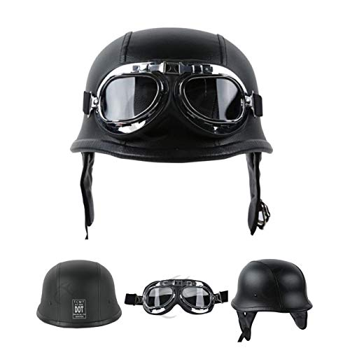 TCMT DOT German Motorcycle Open Face Helmet for Chopper Cruiser Biker (Black PU Leather, L)