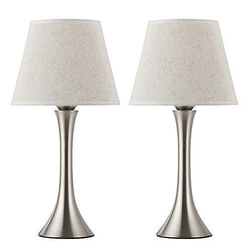 2er Set Nachttischlampe Tischleuchte Silber Metall Rahmen mit Stoffschirm für Schlafzimmer, Wohnzimmer, Büro Typ 1 (ohne Birne)