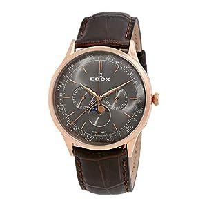 Edox Les Vauberts メンズ腕時計 グレーダイヤル ブラウンレザー 40101 37RC Gir