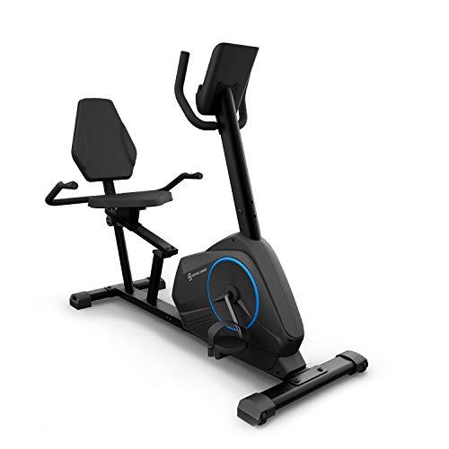 Capital Sports Relax Fahrrad-Heimtrainer - Riemenantrieb mit SilentBelt System, 12 kg Schwungmasse, HiLevel-Widerstand in 24 Stufen, MagResist-Funktion, Tablet-Halterung, TÜV-geprüft, schwarz