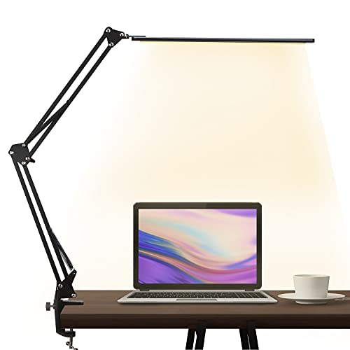 LED Desk Lamp,Adjustable Swing Arm Table Lamp with Clamp,Eye-Caring Architect Desk Light,Dimmable Lamp for Home Office with USB,3 Lighting Modes with 10 Brightness Levels,12W