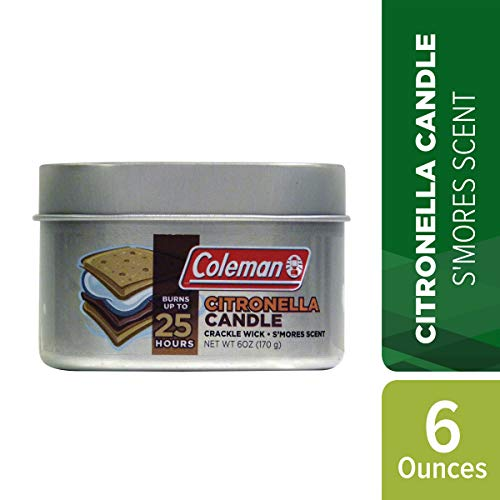 Coleman Scented Citronella S'Mores Candle with Wooden Crackle Wick