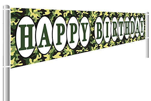 Large Camouflage Happy Birthday Banner, Camo Birthday Decoration Party Supplies, Military Themed Birthday Party Decoration, Outdoor Indoor (9.8 x 1.5 ft)