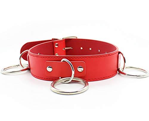 Choker Halskette Damen Lederhalsband Damen Halsband Sm Damen BDSM RÜCkhaltegurt Leine Halsband FÜR Männer Frauen Paare-red